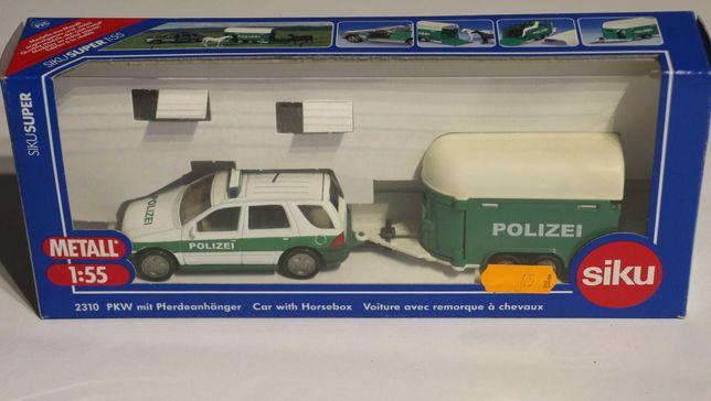 Policja z przyczepą do przewozu koni SIKU mercedes 2310 - rarytas