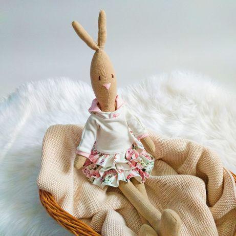 Królik Króliczek Bunny Doll Hand Made Rękodzieło Przytulanka Prezent