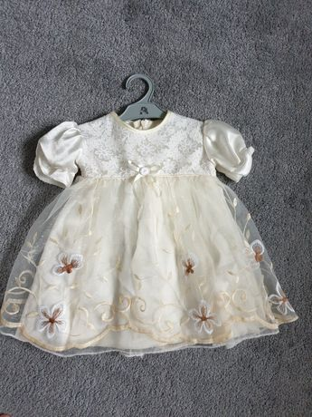 Sukienka bolerko do chrztu 68 cm