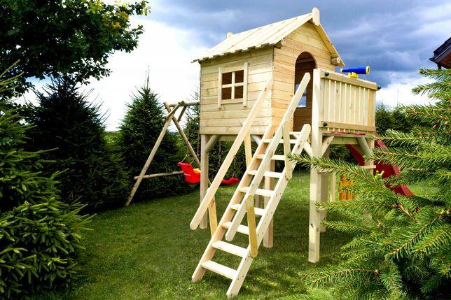 Domek drewniany dla dzieci plac zabaw huśtawka