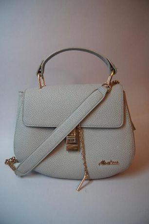 Modna szara torebka, złoty łańcuszek, torebka na ramię, elegancka