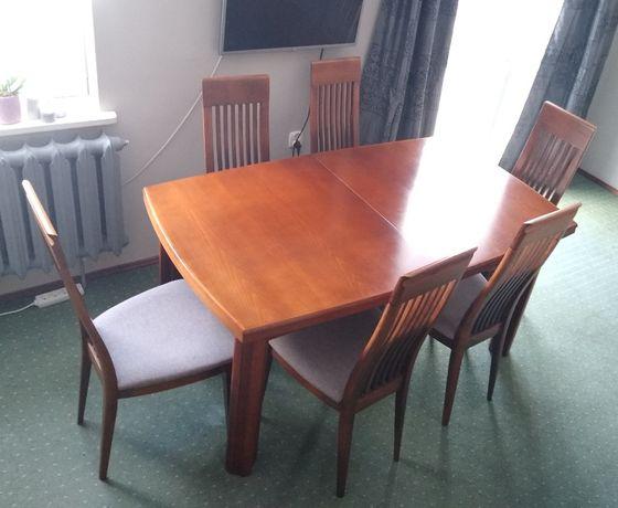 Swarzędz, drewniany stół rozkładany 160-340 x 95 cm i 6 krzeseł
