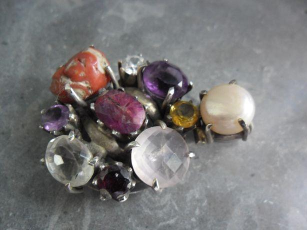 Pendente flor c/várias pedras semipreciosas/prata contrastada,NOVO