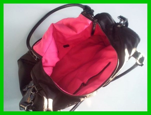 GIONNI czarna duża torba podróżna różowa podszewka