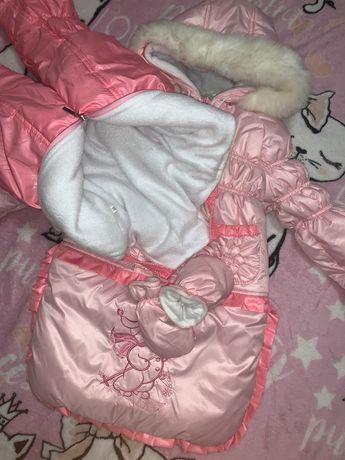 Детский зимний комбинезон трансформер 3 в 1 (конверт,штаны,курточка)