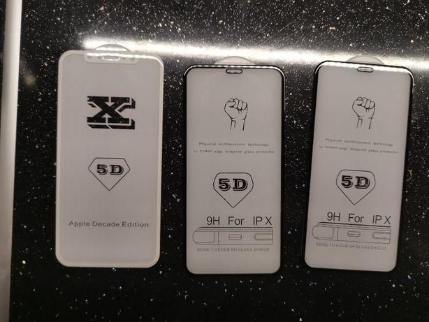 Iphone X, 8,7,6 plus szkło hartowane 5D, czarne, białe, przód i tył