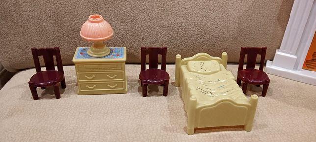Mebelki meble dla lalek lalki - SYPIALNIA komplet zestaw paka