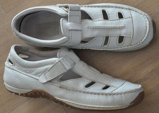 Półbuty skórzane R.45, kremowe mokasyny, sandały-super wygoda i stan