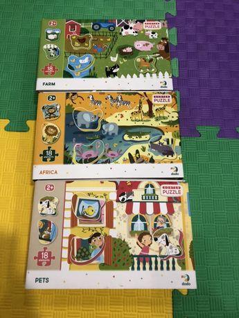 Три набора пазлов Додо «Ферма», «Африка» и «Домашние животные»