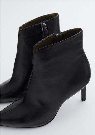 Zara czarne skórzane botki 39