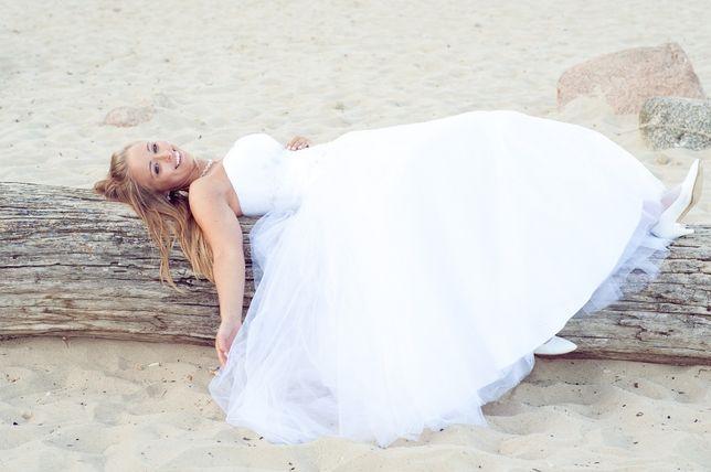 suknia ślubna biała princeska princess gorset 38 M