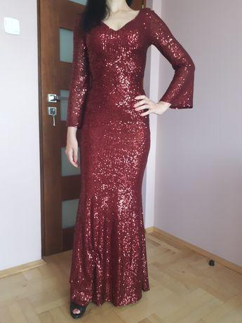 Bordowa cekinowa długa suknia sukienka XS 34