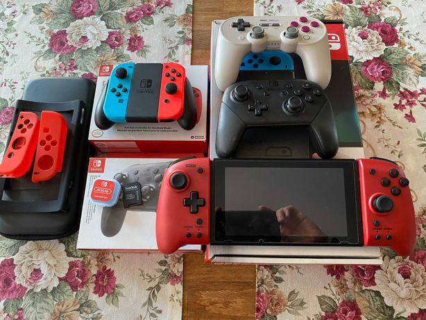 Nintendo Switch CFW 512GB 3 dodatkowe kontrolery, duży zestaw