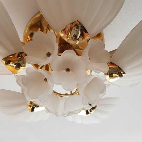 żyrandol metalowy, pozłacany, lampa wisząca, szkło, retro