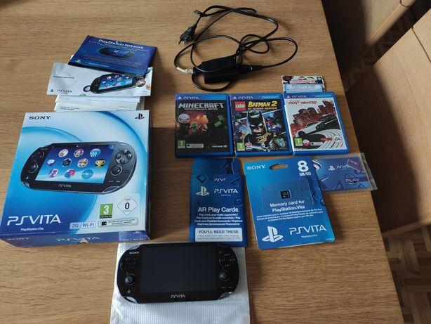 PsVita, 8 GB pamieci, 4 gry, AR Play cards,