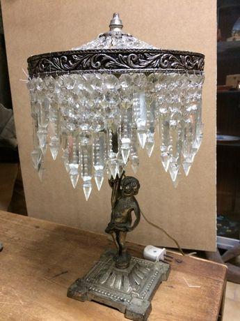 Candeeiros vintage bronze e cristal para secretária ou mesa cabeçeira