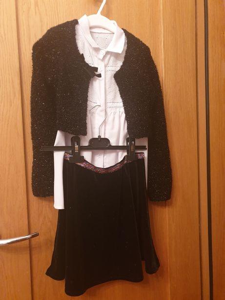 Komplet bolerko blask bluzka impreza narzutka sweterek r128