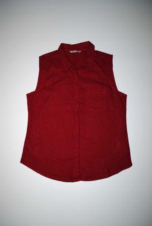 Рубашка лен льняная бордовая без рукавов M&S майка блуза Германия