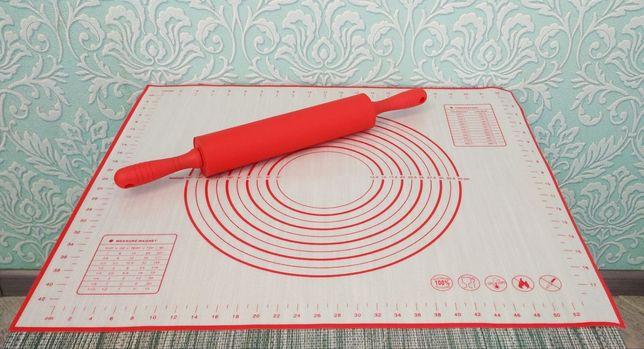 Силиконовый коврик для раскатки теста силиконовая скалка