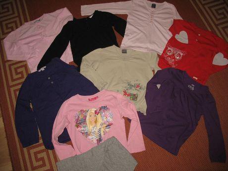 Bluzki dla dziewczynki 8 szt. + piżama z Barbie w roz. 104