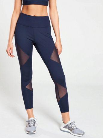 Adidas legginsy spodnie sportowe wstawki z siateczki roz.L