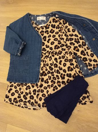 Zestaw kurteczka katana jeansowa pikowana zara 92 sukienka hm panterka