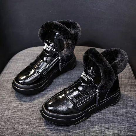 Зимние женские сапожки ботинки, экокожа, экомех, 36 размер