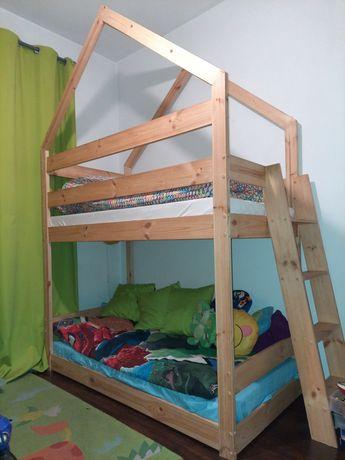 Łóżko piętrowe domek + materace