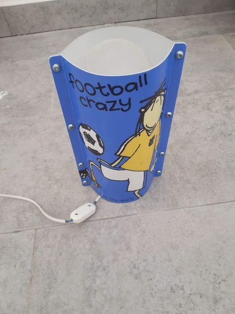 Candeeiro de mesa com tema de futebol, azul e transparente, infantil