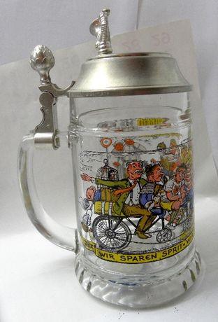 бокал пивной кружка стекло олово винтаж музыкальный велосипед Германия