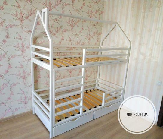 Детская кровать,  двухъярусная кроватка домик из массива дерева
