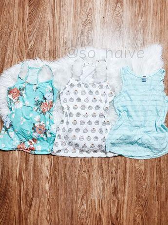 Zestaw koszulek 3x top bluzka koszulka bokserka babeczki kwiaty paka