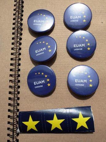 Значок EUAM Ukraine + стрічка або кулька у подарунок