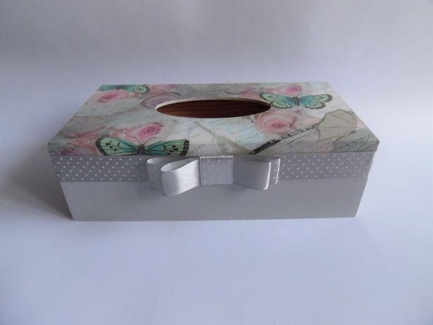 Chustecznik handmade, decoupage, pudełko na chusteczki