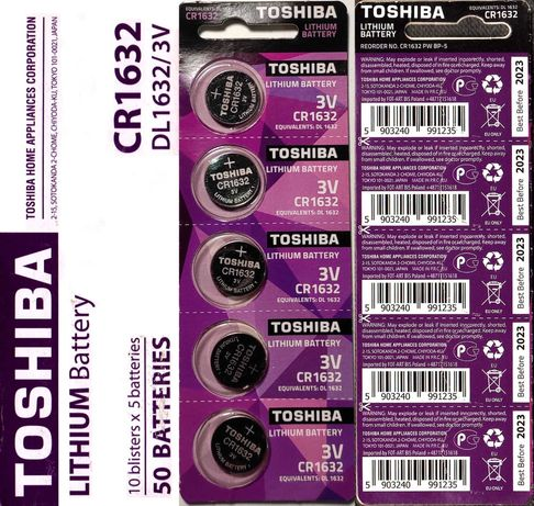 Батарейка Toshiba CR1632 до 2023г.! + бесплатная доставка. Киев