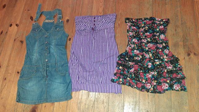 Zestaw damska sukienka w kwiaty ogrodniczka dżinsowa na lato 36 S 3szt