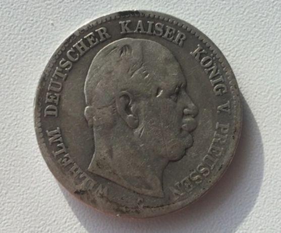 Серебряные 2 марки 1876г Германия. Оригинал