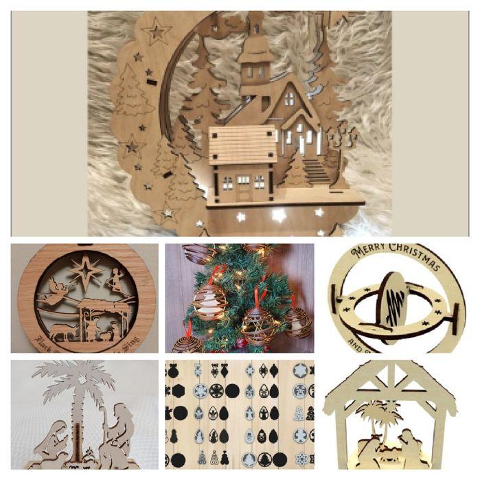 Ficheiros decorações de natal para máquinas a laser ,CNC, mdf Santa Cruz - imagem 1
