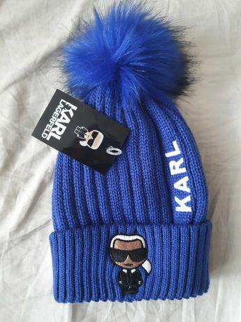 NOWA czapka zimowa z pomponem Karl Lagerfeld hit piękny kolor chaber