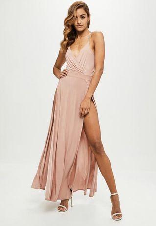 Платье Missguided вечернее бежевое длинное в пол с боди розовое Пудра
