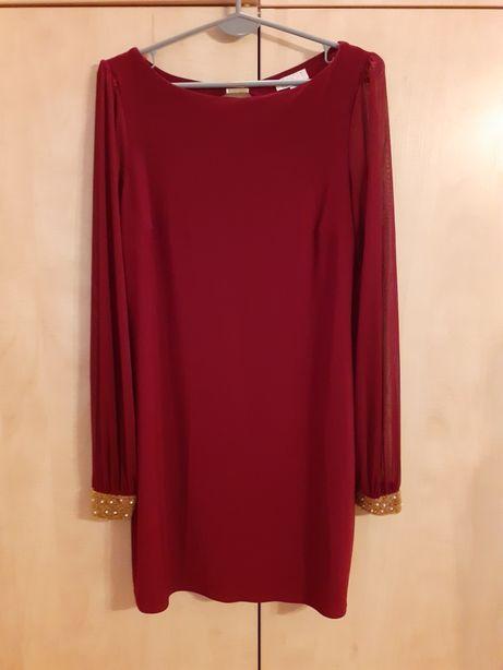 Sukienka z eleganckimi rękawami siatka elementy złote rozmiar S M