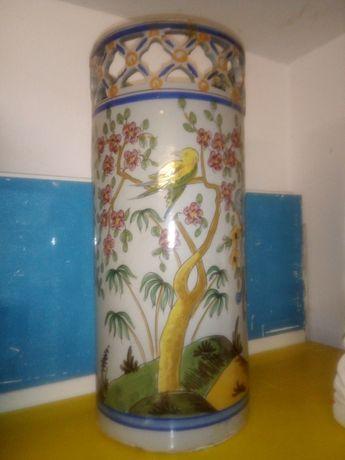 Grand antigo jarrão/ chapeleira/ bengaleiro em faiança Viúva Lamego
