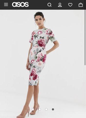 Шикарное новое  платье  миди в пионы Asos