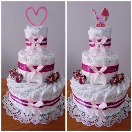 Piękne torty z pieluch / pampersów dla dziewczynki