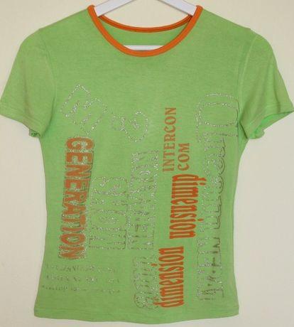Bluzka zielona z nadrukiem rozmiar S \ M