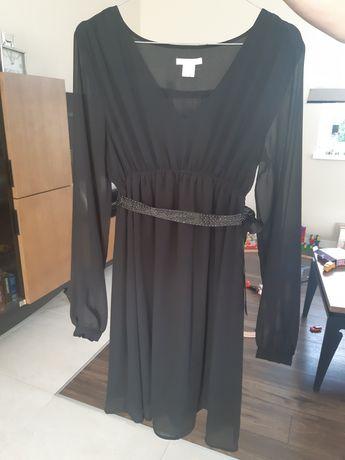 Sukienka ciążowa wizytowa hm mama z kryształkami czarna S