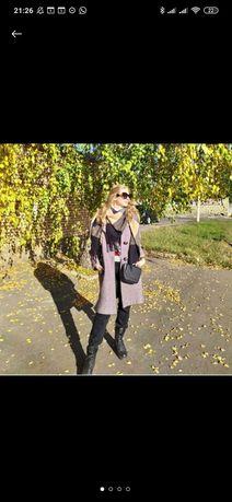 Пальто серое лиловое шерстянное