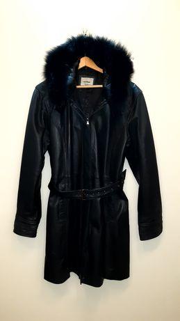 Płaszcz damski z kapturem czarny skóra oryginał Włochy.