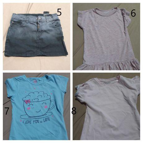 paka dla dziewczynki r.116 do r. 122 spodnie, bluzki, sukienki
