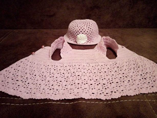 Вязаная одежда для куклы беби бон baby born платье шляпа